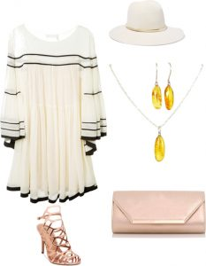 White for last summer days with statement earrings
