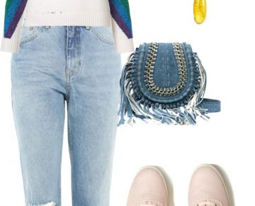 Casual jeans outfit with Baltic amber pendant and earrings