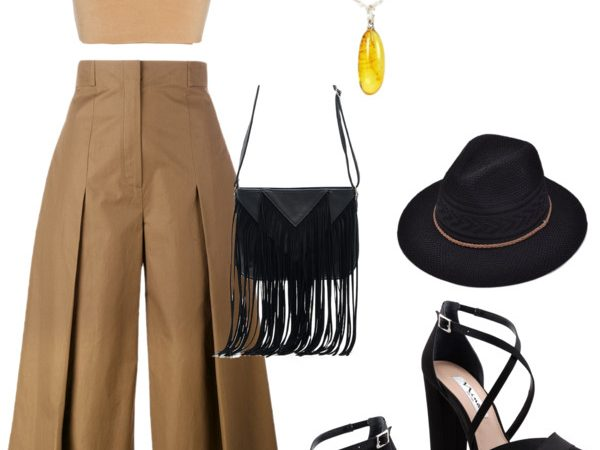 earthy brown tones outfit with yellow Baltic amber jewelry set