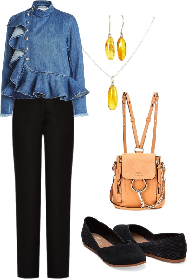 casual outfit with denim jacket and Baltic amber jewelry set