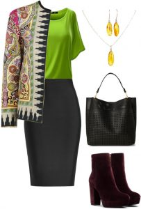 Green and pencil skirt