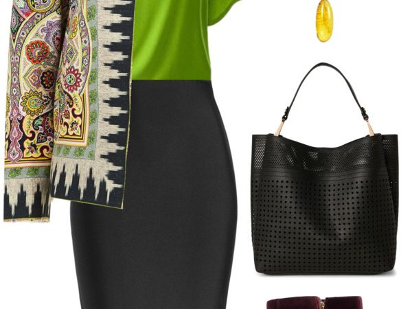Green with pencil skirt and yellow amber jewelry