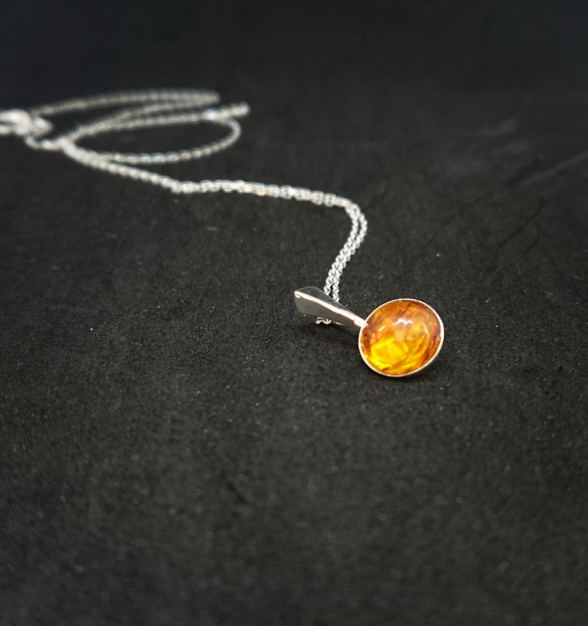 Baltic amber sterling silver pendant necklace