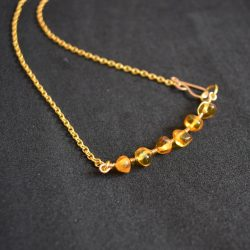 Baltic amber gold plated honey necklace